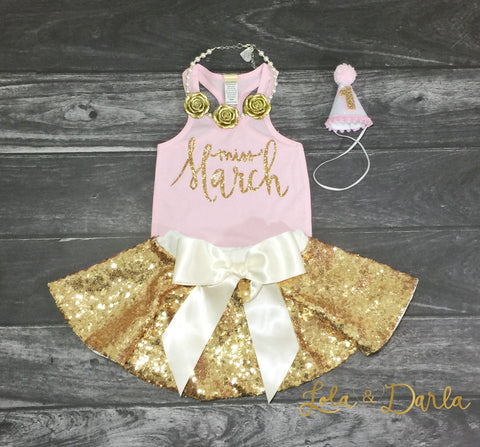 Miss March infant tank top in gold sparkle