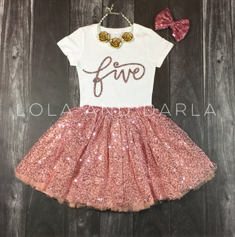 Number FIVE toddler birthday shirt in Rosé sparkle