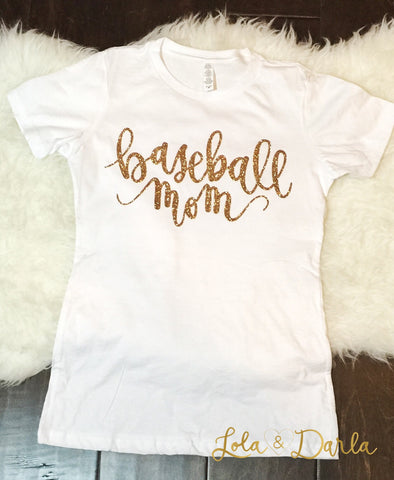 Baseball Mom Womens Sparkle T Shirt