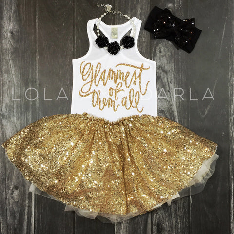 Glammest of them all tank for toddlers in gold sparkle