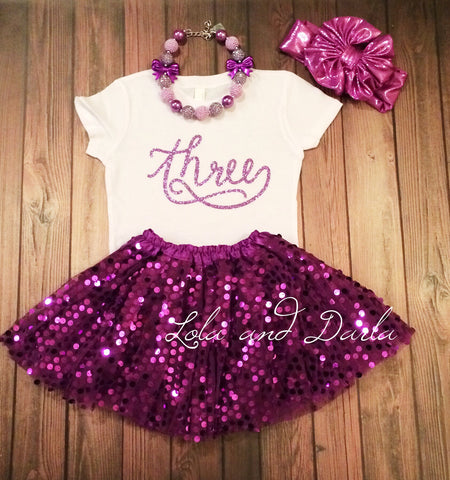 Number THREE toddler birthday shirt with PURPLE sparkle