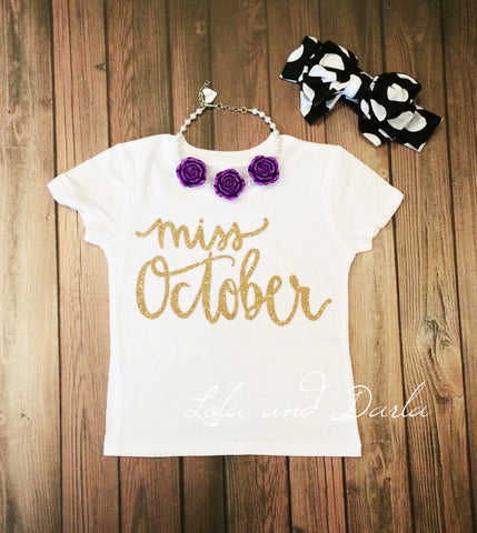 Miss October Toddler and Girls Sparkle T Shirt