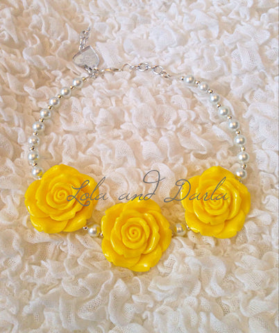 Flower Girl Necklace -YELLOW