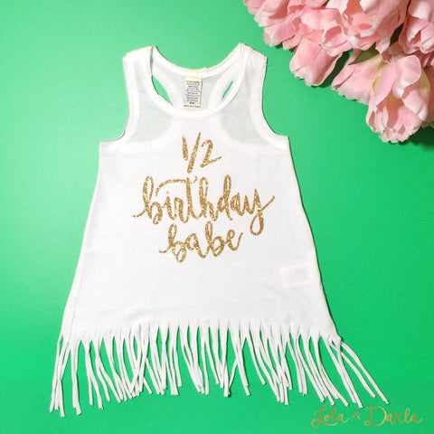 Birthday Babe White and Gold Toddler Fringe Dress