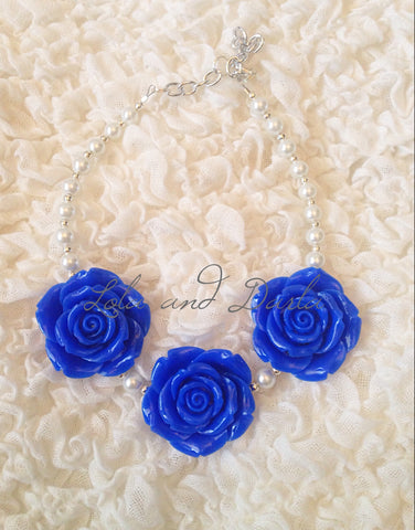 Flower Girl Necklace - ROYAL BLUE