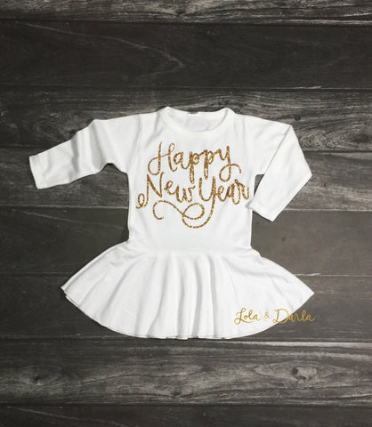 Happy New Year Long Sleeve Holiday Dress