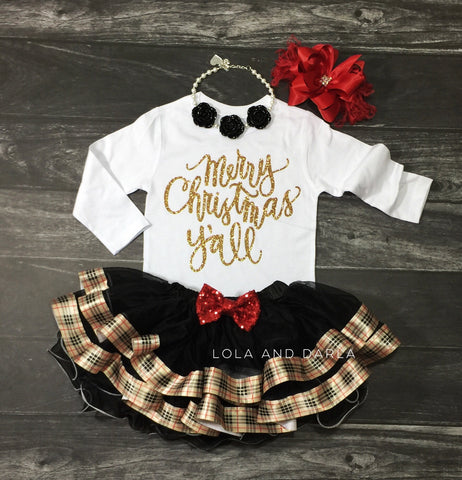 The Sparkle Babe Christmas plaid RIBBON petti skirt in black, gold and red