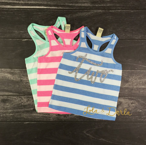 Birthday Number striped tank for toddlers in silver sparkle