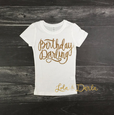 Birthday Darling Toddler and Girls Sparkle T Shirt in gold sparkle