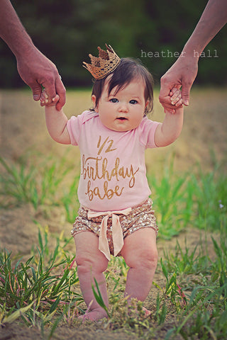 1/2 Birthday Babe® Gold Sparkle Baby Bodysuit