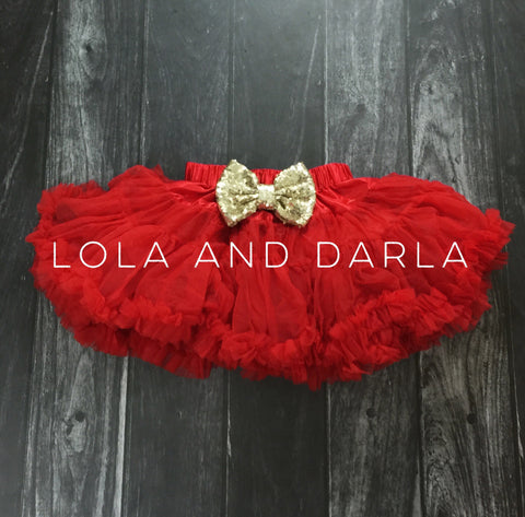 The Sparkle Babe sequin bow tutu petti skirt in RED