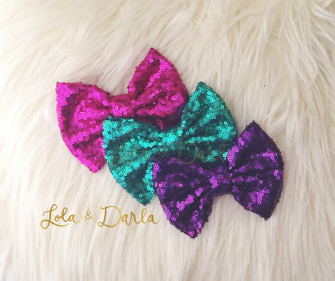 Merbabe Sequin Bow Clip Pack of 3