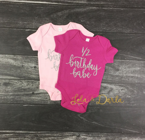 1/2 Birthday Babe™ Short Sleeve Baby Bodysuit with Silver Sparkle