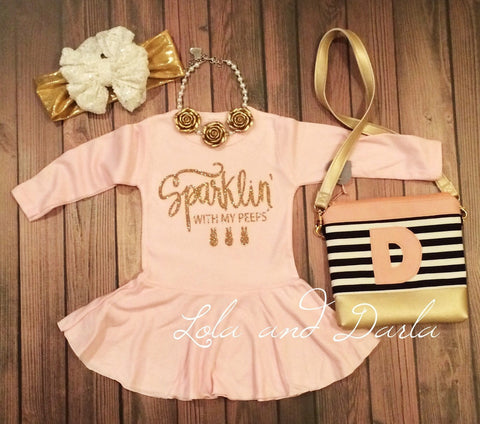 Sparklin with my peeps long sleeve pink Easter dress