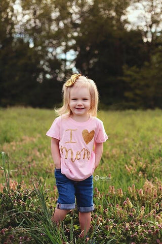 I LOVE MOM Toddler and Girls Sparkle T Shirt