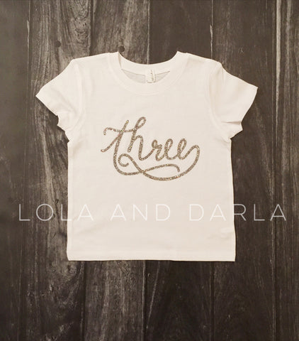 Number THREE toddler birthday shirt with SILVER sparkle