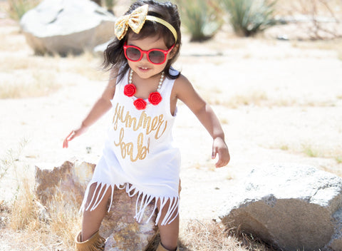 A Summer Babe White and Gold Toddler Fringe Dress