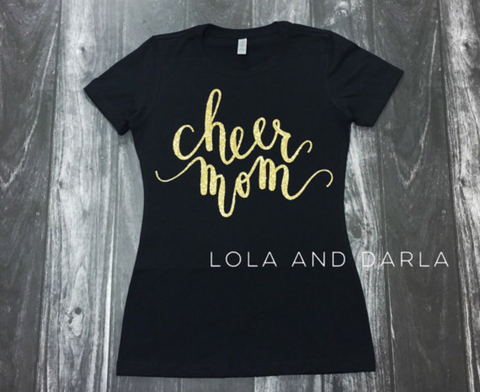 Cheer Mom Womens Sparkle T Shirt
