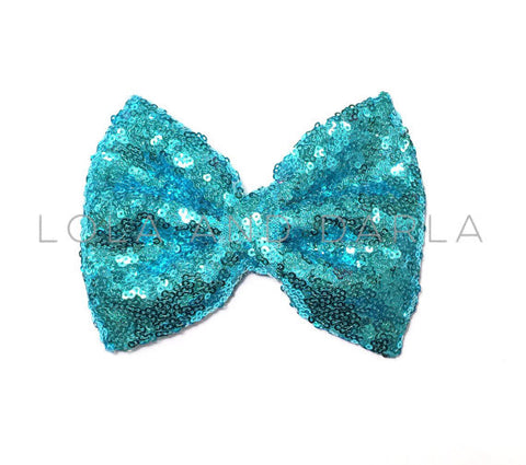 Sparkle Darling Sequin Bow Clip in AQUA BLUE