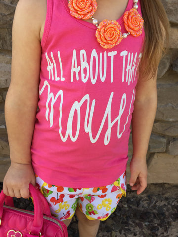 All about that Mouse TODDLER and GIRLS tank top with WHITE SPARKLE