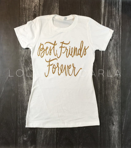 Best Friends Forever Womens Sparkle T Shirt