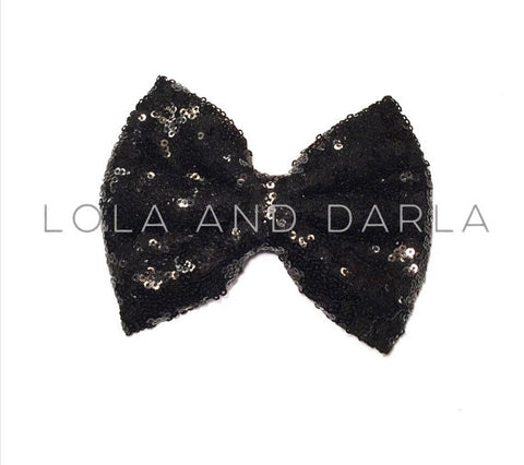 Sparkle Darling Sequin Bow Clip in BLACK
