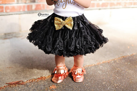 The Sparkle Babe sequin bow tutu petti skirt in BLACK