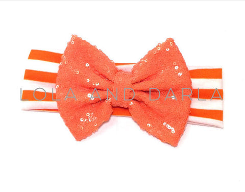 Sparkle Babe striped Headband with Sequin Bow -ORANGE