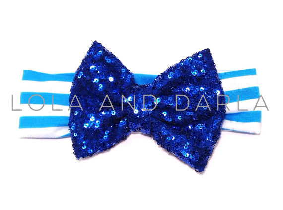 Sparkle Babe striped Headband with Sequin Bow - BLUE