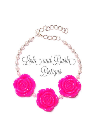 Flower Girl Necklace - BRIGHT PINK