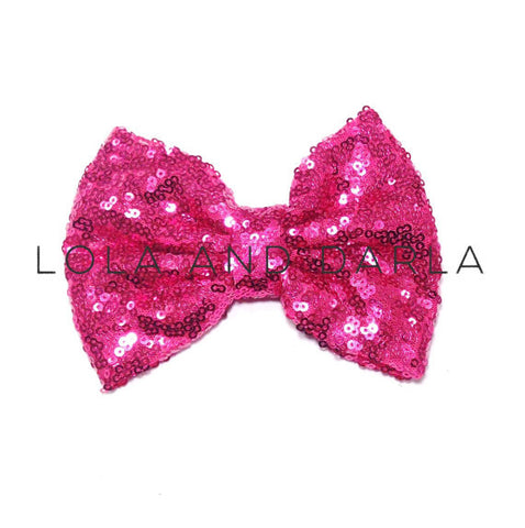 Sparkle Darling Sequin Bow Clip in BRIGHT PINK