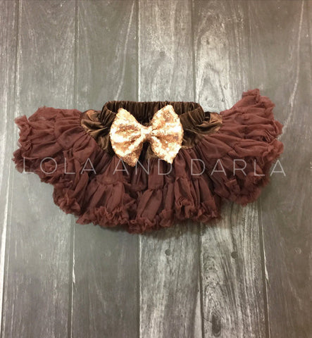 The Sparkle Babe sequin bow tutu petti skirt in BROWN