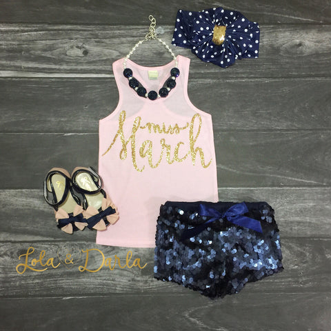 Miss March tank top for toddlers and girls in gold sparkle