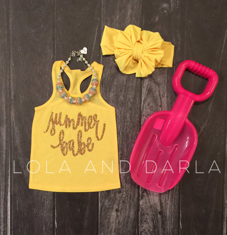 Summer Babe infant tank top in gold sparkle