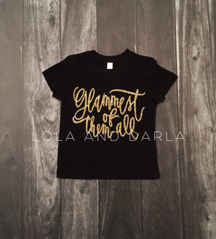 Glammest of Them All Toddler and Girls Sparkle T Shirt in gold sparkle