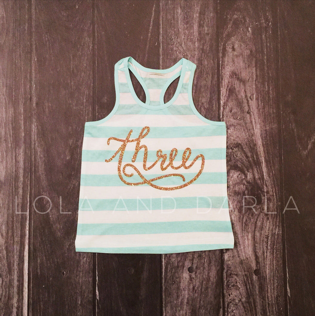 Birthday Number striped tank for toddlers in gold sparkle