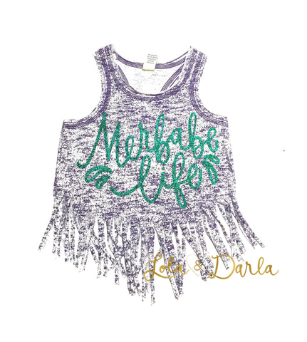 Purple Marbled Merbabe Life Toddler and Girls Fringe Tank