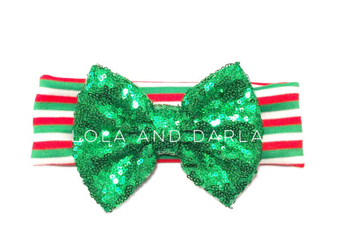 Sparkle Babe Christmas striped Headband with GREEN sparkling bow