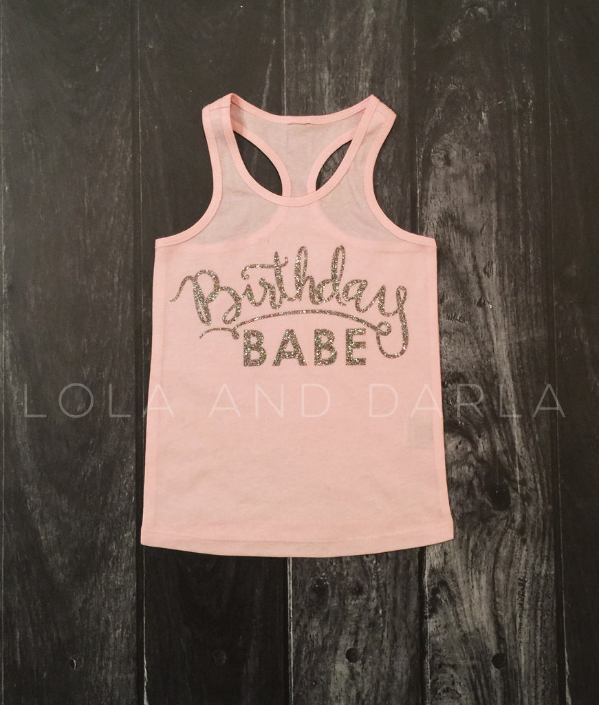 Birthday Babe solid tank for toddlers in silver sparkle