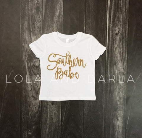 Southern Babe Toddler and Girls Sparkle T Shirt in gold sparkle