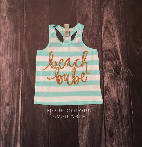 Beach Babe striped tank for toddlers in gold sparkle