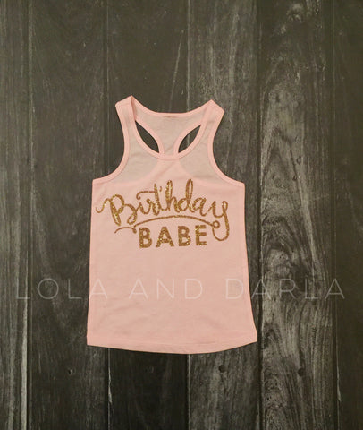 Birthday Babe solid tank for toddlers in gold sparkle
