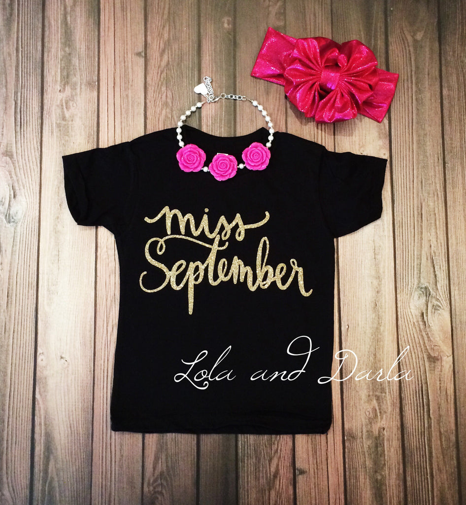 Miss September Toddler and Girls Sparkle T Shirt