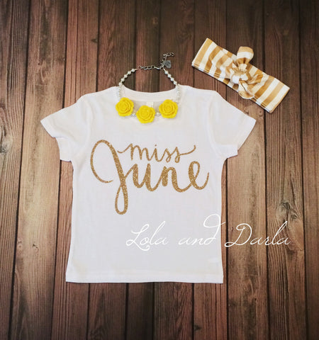 Miss June Toddler and Girls Sparkle T Shirt