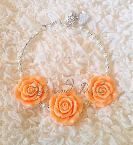Flower Girl Necklace - PEACH