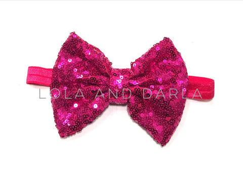 Sparkle Babe elastic Headband with Sequin Bow - FUCHSIA