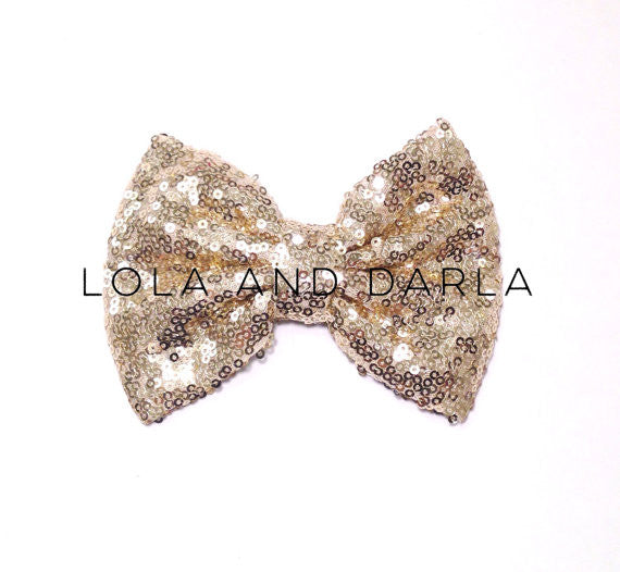 Sparkle Darling Sequin Bow Clip in GOLD