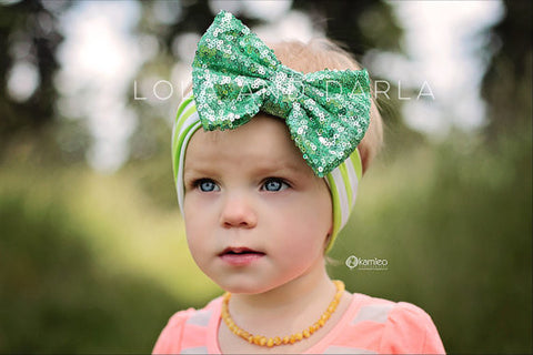Sparkle Babe striped Headband with Sequin Bow - LIME GREEN & MINT