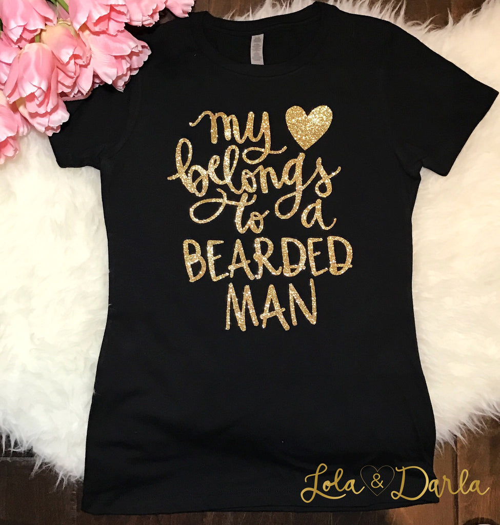 My heart belongs to a bearded man Womens Sparkle T Shirt