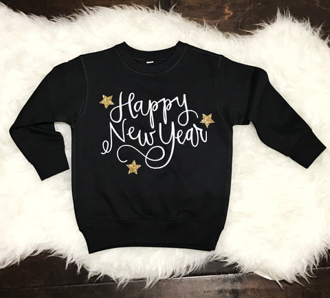 Happy New Year TODDLER Sweatshirt Red with silver sparkle